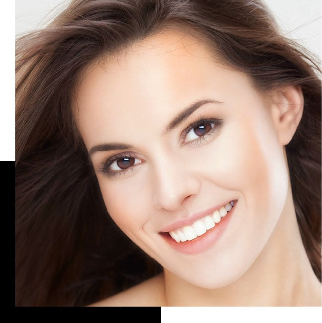 Female model smiling.
